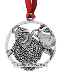 Partridge in a Pear Tree Pewter Christmas Ornament - Set of 4