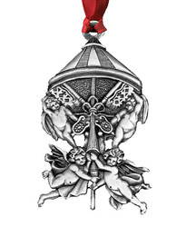Angels with Keys Pewter Christmas Ornament - Set of 4