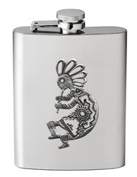Stainless Steel Flask with Southwest Pewter