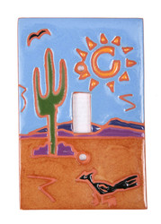 Cactus and Roadrunner Switch Plate Cover