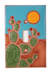 Green Prickly Pear with Sun Switch Plate Cover