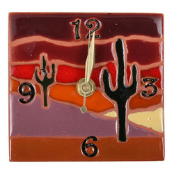 Cactus Scene with Numbers Desk Clock