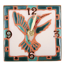 Hummingbird Green with Numbers Desk Clock
