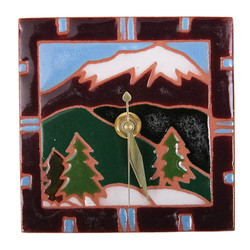 Snow Cap Mountains Desk Clock