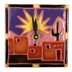Adobe Scene with Sun Desk Clock