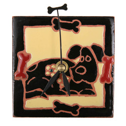 Dog with Bones Dark Desk Clock