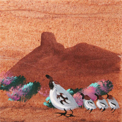 Hand Painted Quail Coasters - Set of 4