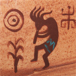 Hand Painted Kokopelli Coasters - Set of 4