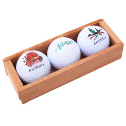 Three Golf Balls in Wood Box