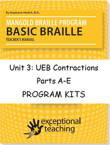 Mangold Basic Braille Program Kits, Unit 3: UEB Contractions ($89-$565)