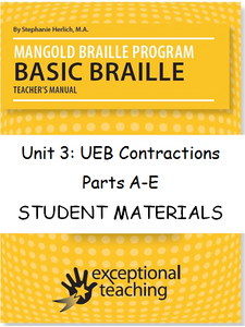 Mangold Basic Braille Program Student Materials, Unit 3: UEB Contractions ($59-$99)