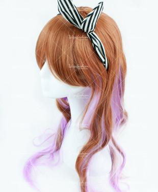 Brown/Light Violet Long Wavy 75cm