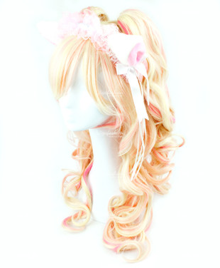Light Blonde Pink Highlight Long Wavy 65cm