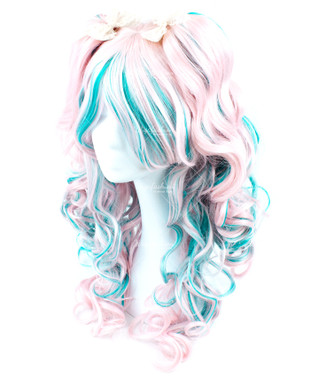 Cream Pink Cyan highlight Long Wavy 65cm
