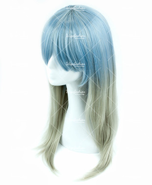 Two Tone Baby Blue/Ash Green Long Straight 70cm