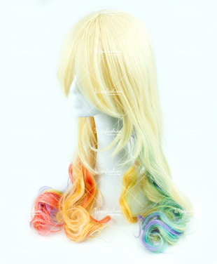 Blonde with Rainbow Tail Long Wavy 75cm
