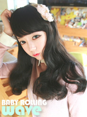 Premium Wig Baby Rolling Wave - Soft Curly Hair (Brown)