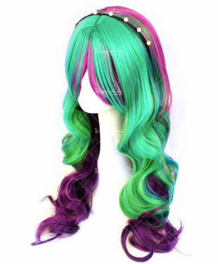 Tri Tone Aurora Galaxy Long Curly 70cm