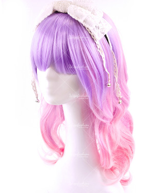 Girlish Two Tone Purple Pink Medium Wavy 50cm