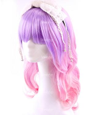 Girlish Two Tone Purple Pink Medium Wavy 50cm