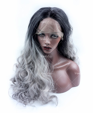 Silver Grey Ombre Long Curly Lace Front Wig
