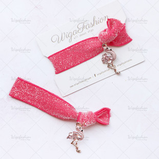 Hot Pink Flamingo Charm Hair Tie