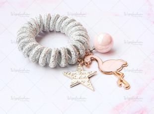 Flamingo Coil Hair Tie