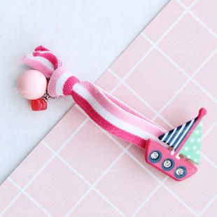 Sailboat Pink Ball Charm Hair Tie