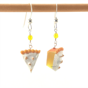lemon meringue pie earrings by inedible jewelry