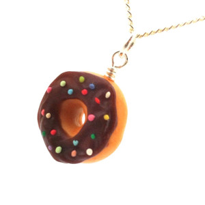 chocolate sprinkle donut necklace