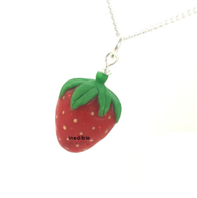 strawberry necklace by inedible jewelry