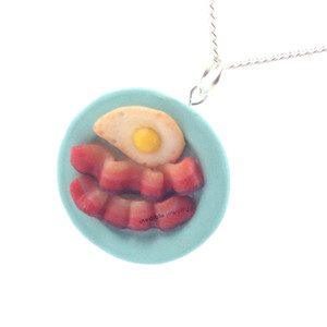 bacon and eggs necklace, inedible jewelry