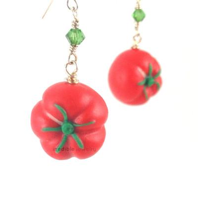 heirloom tomato earrings by inedible jewelry