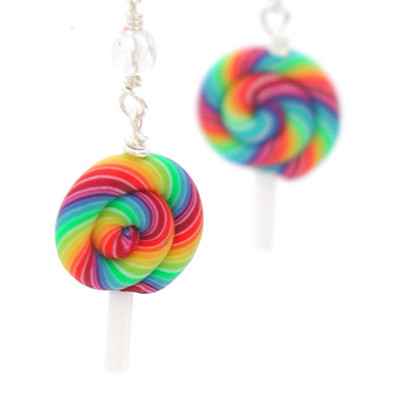 rainbow lollipop earrings by inedible jewelry