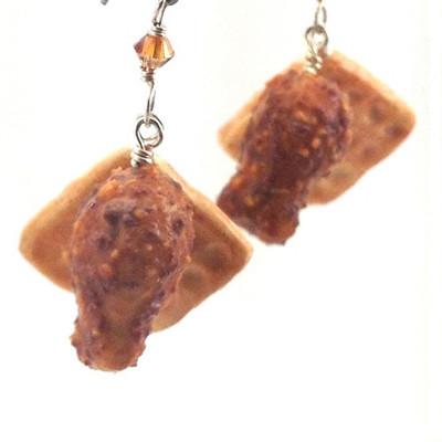 chicken and waffles earrings by inedible jewelry