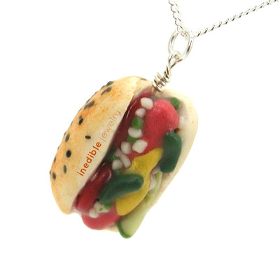 Chicago hot dog necklace by inedible jewelry