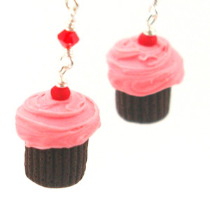 pink cherry chocolate cupcake earrings by inedible jewelry