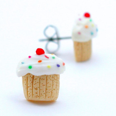 birthday vanilla cupcake studs by inedible jewelry