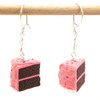pink birthday chocolate cake slice earrings by inedible jewelry