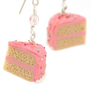 pink vanilla birthday cake earrings by inedible jewelry