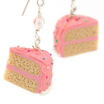 pink vanilla birthday cake earrings by inedible jewelry