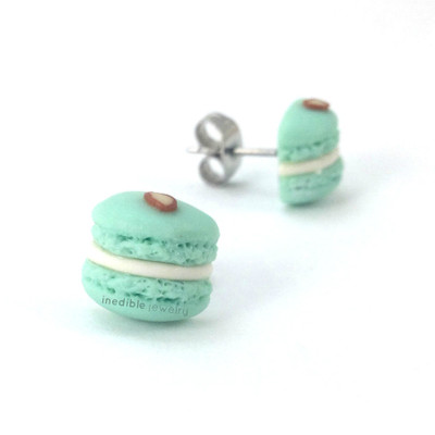 almond macaron studs by inedible jewelry