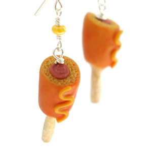corn dog earrings by inedible jewelry