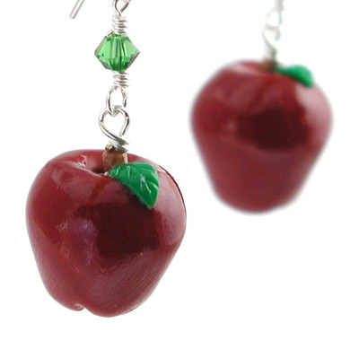 red delicious apple earrings by inedible jewelry