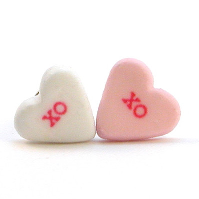 candy heart studs xo by inedible jewelry