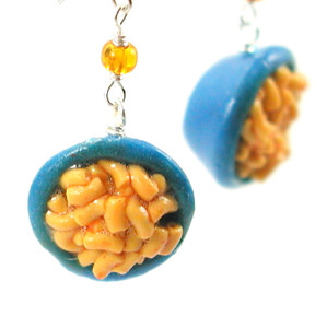 macaroni and cheese earrings by inedible jewelry