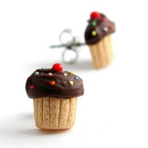 chocolate sprinkle vanilla cupcake studs by inedible jewelry