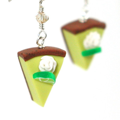 key lime pie slice earrings by inedible jewelry