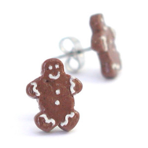 gingerbread man studs by inedible jewelry