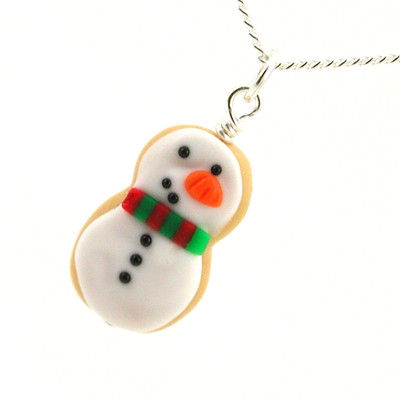 snowman cookie necklace by inedible jewelry